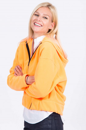 Fleece-Jacke in Neon-Orange