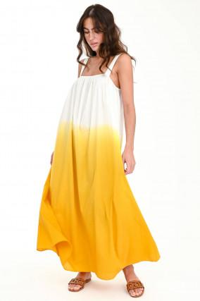 Dip-Dye Maxi-Kleid in Weiß/Gelb