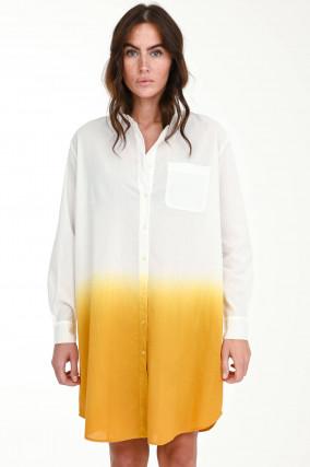 Dip-Dye Blusenkleid in Weiß/Gelb