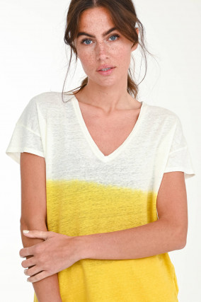 Dip-Dye Kurzarmshirt TOKY in Weiß/Gelb