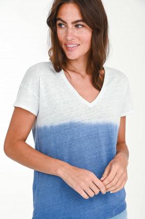 Dip-Dye Kurzarmshirt in Weiß/Blau