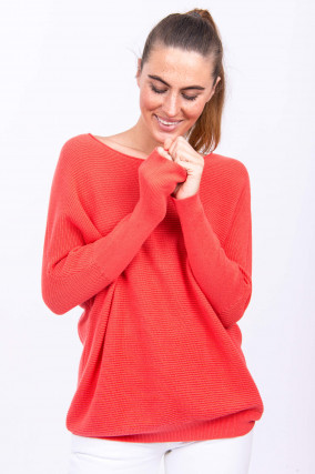 Pullover aus Baumwoll-Kaschmir-Mix in Koralle