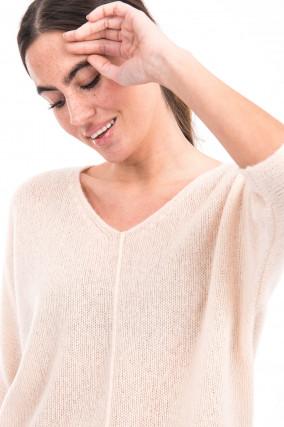 Pullover aus Kaschmir-Seiden-Mix in Puder