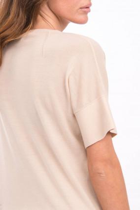 Strickshirt aus Wolle in Beige