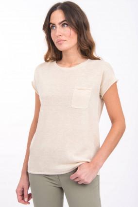 Leinen-Shirt in Creme