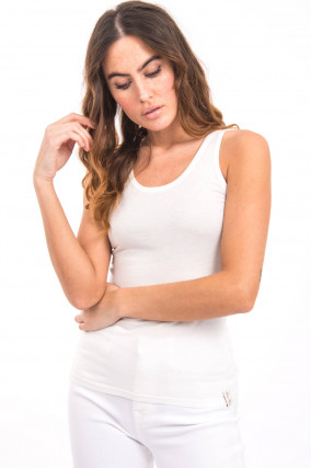 Ärmelloses Shirt mit Effektgarn in Weiß