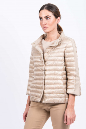 Daunensteppjacke in Beige