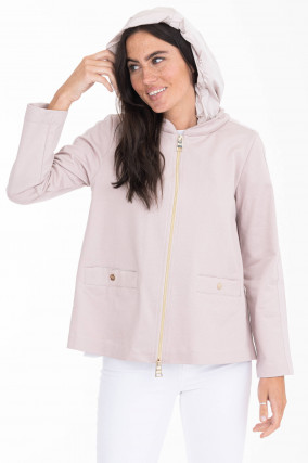 Sweatjacke mit Kapuze in Pastell-Rosa