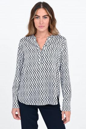 Gemustertes Seiden-Blusenshirt in Weiß/Schwarz