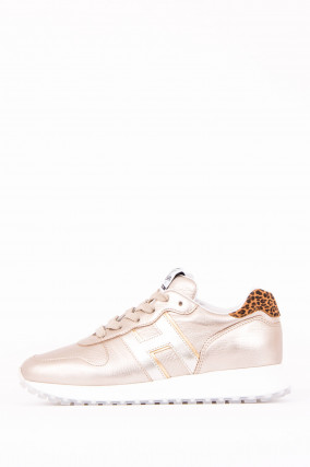 Sneaker mit Metallic-Optik in Gold