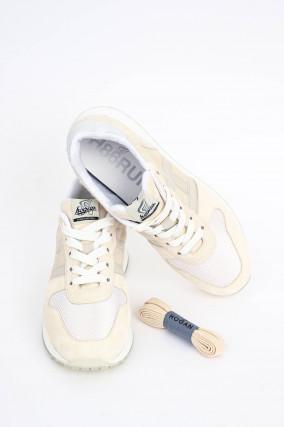 Leder-Sneaker in Hellbeige/Weiß
