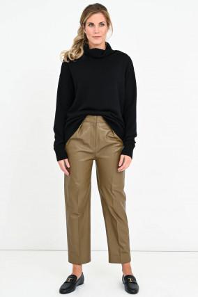 Verküruzte Lederhose TILDA mit Bundfalten in Khaki