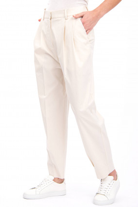 Bundfaltenhose PHILOMENA in Creme