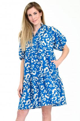 Kleid DONA mit Puffarm in Blau/Hellgrau