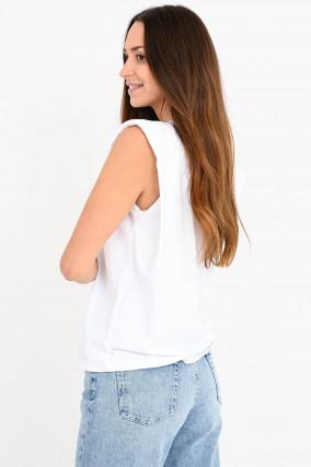 Shirt MUNA mit Schulterpölster in Weiß