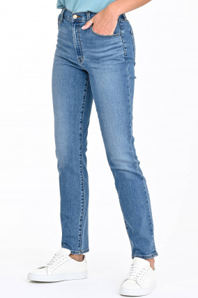 Jeans TEAGAN HIGH-RISE STRAIGHT in Mittelblau