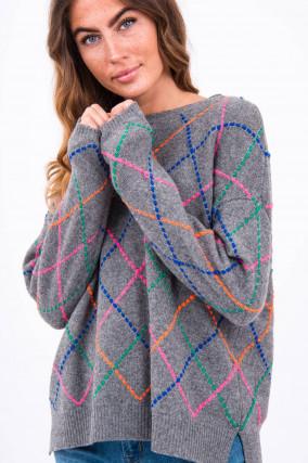 Pullover mit Rauten-Design in Grau
