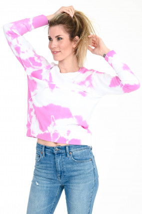 Sweater im Batik-Design in Pink/Weiß