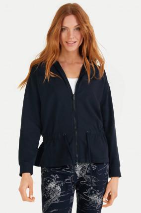 Sweat-Jacke mit Kapuze in Navy