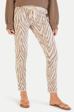 Sweatpants im Zebra-Design in Creme/Tabacco