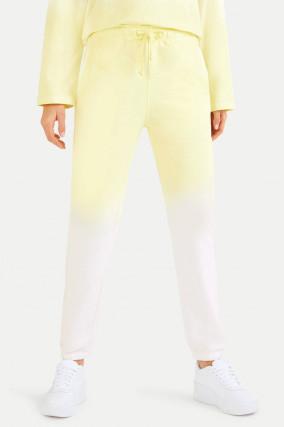 Dip-Dye Sweatpants in Gelb/Weiß
