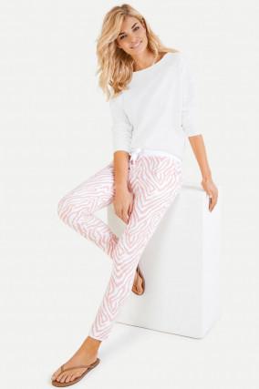Sweatpants im Zebra-Design in Weiß/Rosa