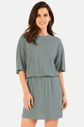 Kurzes Kleid aus Baumwoll-Viskose-Mix in Salbei