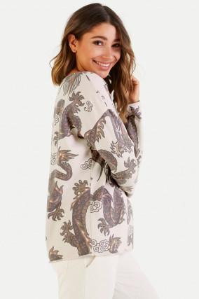 Sweater im Dragon-Design in Creme