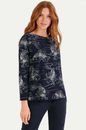 Sweatshirt mit Allover-Print in Navy