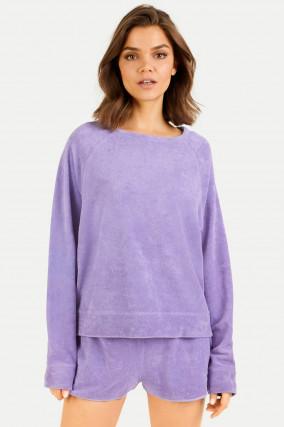 Frottee Sweatshirt in Lavendel