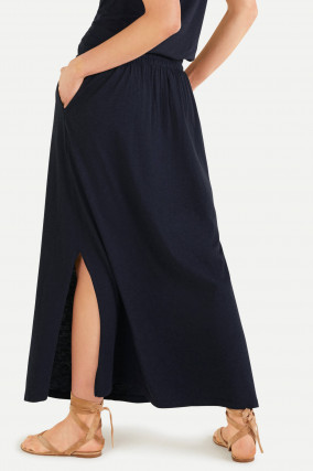 Maxi-Rock aus Baumwoll-Viskose-Mix in Navy