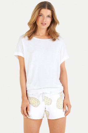 Shorts mit Ananas-Print in Weiß