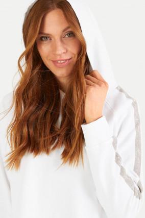 Hoodie mit Streifen-Details in Weiß
