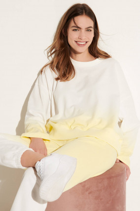 Oversized Dip-Dye Sweater in Weiß/Gelb