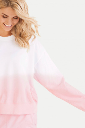 Oversized Dip-Dye Sweater in Weiß/Rosa