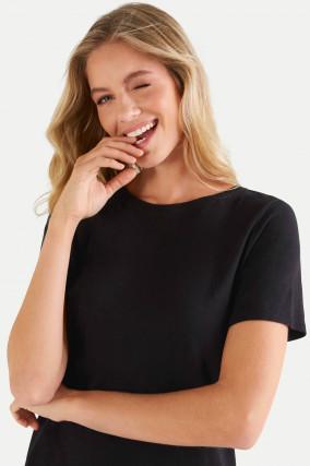 T-Shirt aus Baumwoll-Viskose-Mix in Schwarz