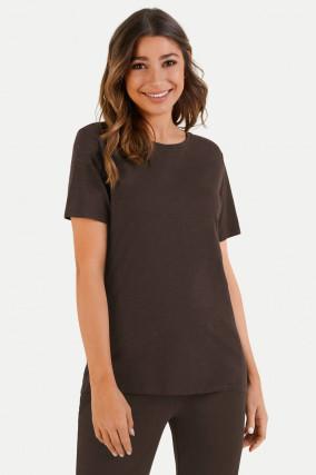 T-Shirt aus Baumwoll-Viskose-Mix in Dunkelbraun
