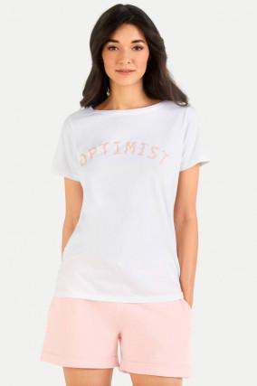 T-Shirt OPTIMIST in Weiß/Rosa