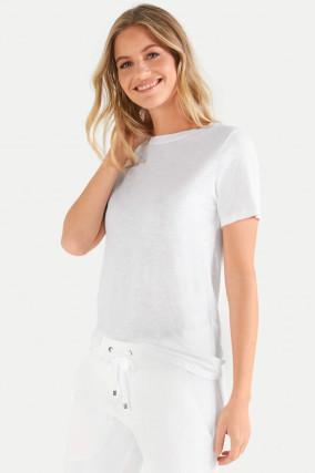 T-Shirt aus Baumwoll-Viskose-Mix in Weiß