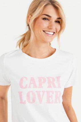 Baumwoll-Shirt mit Frontprint in Weiß