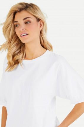 Kurzarm Shirt mit Gummizug in Weiß