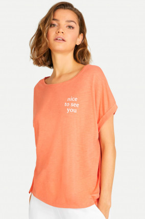 T-Shirt NICE TO SEE YOU in Papaya
