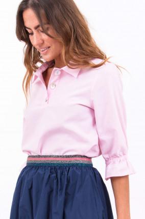 Bluse mit Perlmutt-Knopfleiste in Rosa