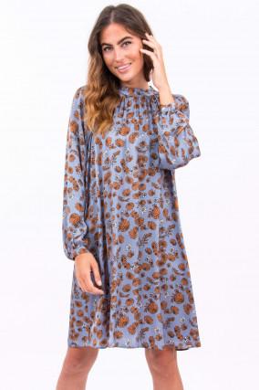 Kleid aus Viskose in Rauchblau/Camel