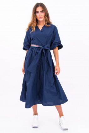 Midi-Kleid mit Bindegürtel in Navy