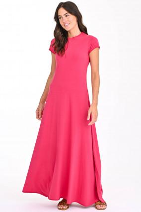 Ausgestelltes Maxi-Kleid in Pink