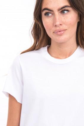 Kurzarmshirt mit Rollsaum in Weiß