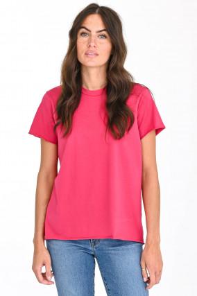Kurzarmshirt mit Rollsaum in Pink
