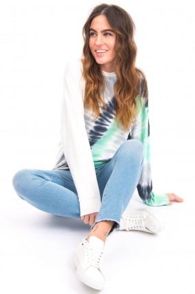 Langer Pullover mit Batik-Design in Weiß