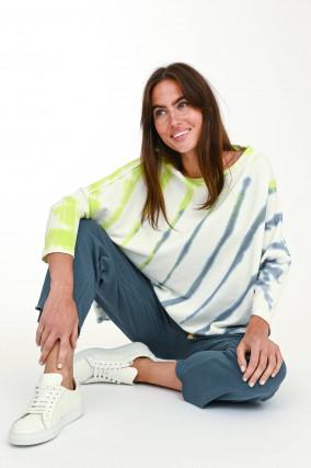 Sweater mit Batik-Design in Weiß/Grün/Blau